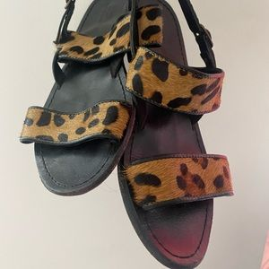 Urban outfitters black and leopard leather sandals